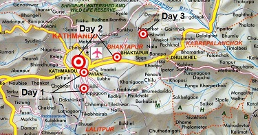 Map of Kathmandu Valley Rural Life Tour
