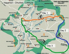 Map of the multiple day cycling tour in Kathmandu Valley